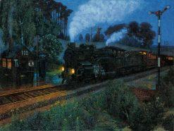 The Express Train Arrives | Hans Baluschek | Oil Painting
