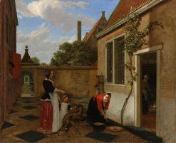 Scene in a Courtyard | Ludolf de Jongh | Oil Painting