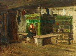 Interior with a Little Girl on the Bench | Georg Eduard Otto Saal | Oil Painting