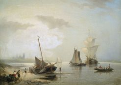 Sailboats off the Dutch coast in morning light.   Nicolaas Riegen   Oil Painting
