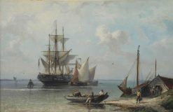A moored three-master near the Dutch coast | Nicolaas Riegen | Oil Painting