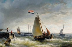 Departure of a Fishing Boat   Nicolaas Riegen   Oil Painting