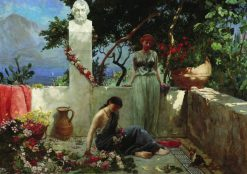 Girls on the Terrace by the Bust of Homer   Hendryk Siemiradzki   Oil Painting