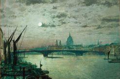 Southwark Bridge and St. Pauls   John Atkinson Grimshaw   Oil Painting