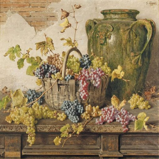 A basket of grapes by an amphor on a wooden table | Giorgio Lucchesi | Oil Painting
