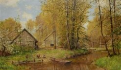 Cabins by a Stream | Walter Moras | Oil Painting
