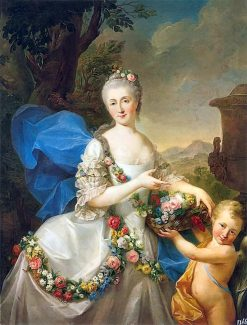 Portrait of Apolonia Poniatowska nee Ustrzycka and her son Stanis?aw as Flora and Amor | Marcello Bacciarelli | Oil Painting