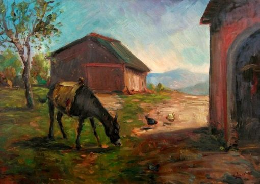 Donkey with Hens | Giorgio Lucchesi | Oil Painting