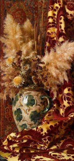 Still life with sunflowers in a faience vase and damask drapery | Giorgio Lucchesi | Oil Painting