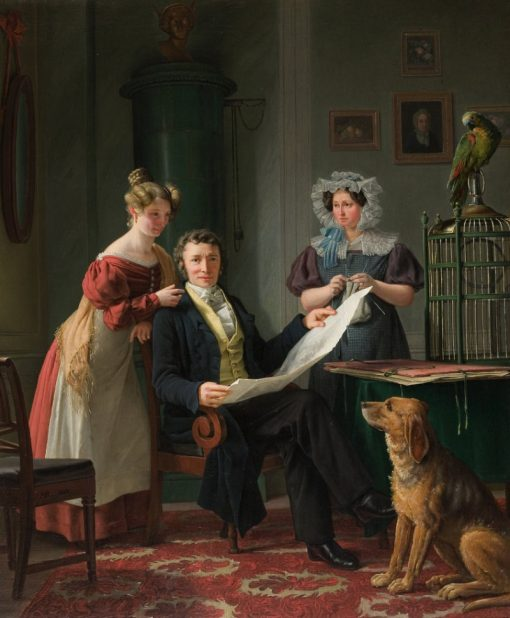 Surgeon Christian Fenegr with Wife and Daughter | Martinus Rørbye | Oil Painting