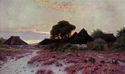 Evening on the Baltic Sea. Fishing Village on Ruegen | Walter Moras | Oil Painting