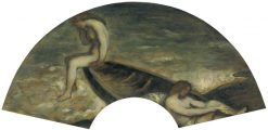 Girl Bathers in a Boat (design for a fan) | Charles Haslewood Shannon | Oil Painting