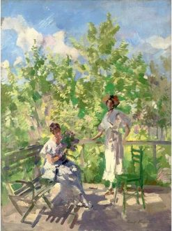 Afternoon tea on the terrace | Constantin Alexeevich Korovin | Oil Painting