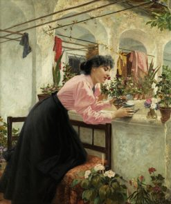 Young Woman with Flowers | Louis Uhl | Oil Painting
