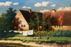 View of a Farm on a Summer Day | Paul Wilhelm Keller-Reutlingen | Oil Painting
