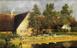Goose Girl in Front of a Farmstead | Paul Wilhelm Keller-Reutlingen | Oil Painting