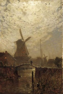 A figure crossing a bridge over a Dutch waterway by moonlight | Walter Moras | Oil Painting