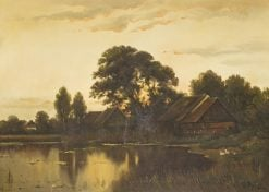 Evening at a lake in Mecklenburg | Walter Moras | Oil Painting