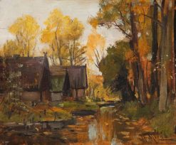 Farmhouses in Autumn | Walter Moras | Oil Painting