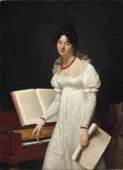 Portrait of a lady at a pianoforte holding a manuscript | Adèle Romany | Oil Painting
