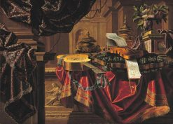 Great still life with basket of grapes