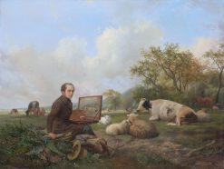 Self Portrait in a Meadow Landscape | Hendrikus van de Sande Bakhuyzen | Oil Painting