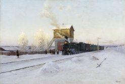 Winter Morning on the Urals Railroad | Vladimir Kazantsev | Oil Painting