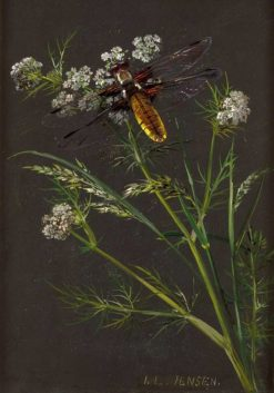 Umbrella plants and meadow herbs with dragonfly | Johan Laurentz | Oil Painting