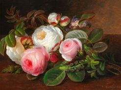 White and pink roses on a sill | Johan Laurentz | Oil Painting