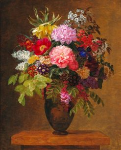 Bouquet of flowers in a Greek vase | Johan Laurentz | Oil Painting