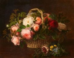 Floral Still Life in a Basket | Johan Laurentz | Oil Painting