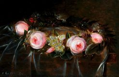 Wreath of pink roses and myrtle | Johan Laurentz | Oil Painting