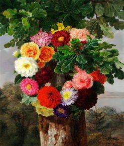 Wreath of dahlias on an oak tree | Johan Laurentz | Oil Painting