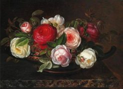 Various roses in a greek bowl | Johan Laurentz | Oil Painting