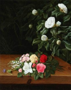 Flower bouquet on a sill at a white camillia bush and elephant ear | Johan Laurentz | Oil Painting