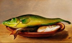 Colorful fish on a dish (study) | Johan Laurentz | Oil Painting