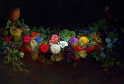 A magnificent garland of fruit and flowers | Johan Laurentz | Oil Painting