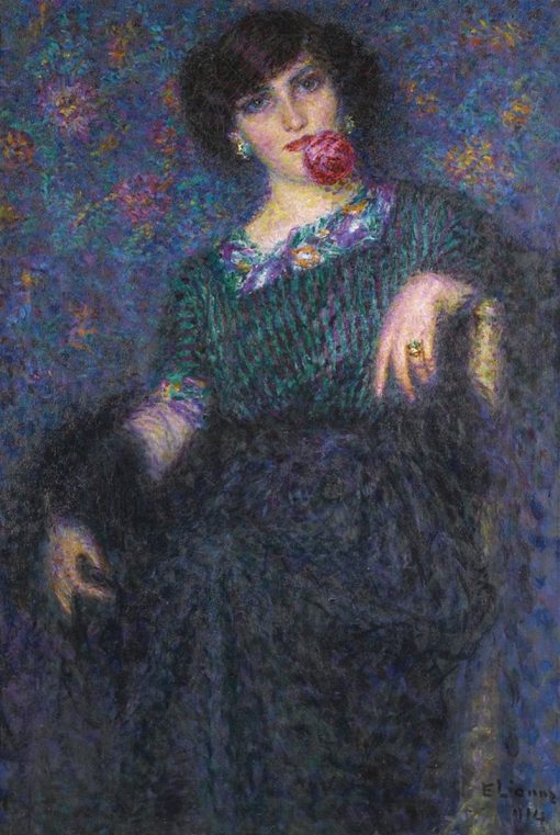 Lady with a rose | Enrico Lionne | Oil Painting