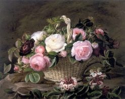 A basket of pink and white and red roses with honeysuckle | Johan Laurentz | Oil Painting