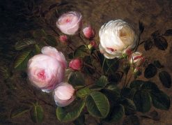 White and pink roses | Johan Laurentz | Oil Painting