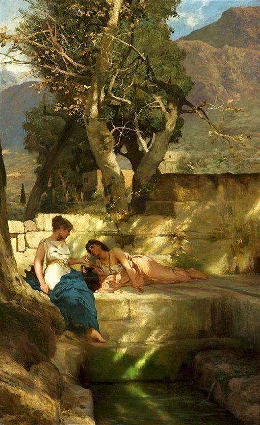 At the Spring - Roman bucolic   Hendryk Siemiradzki   Oil Painting