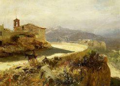 Italian landscape with donkey | Hendryk Siemiradzki | Oil Painting