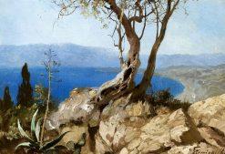 Lake with rocky shores | Hendryk Siemiradzki | Oil Painting