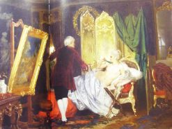 French painter of the time of Louis XV paints a portrait of the marquise | Hendryk Siemiradzki | Oil Painting