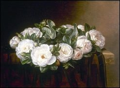 A wreath of white roses | Johan Laurentz | Oil Painting
