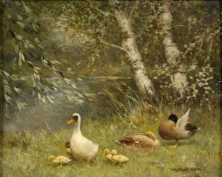 Ducks on the Riverbank | David Adolph Artz | Oil Painting