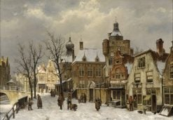 Dutch city view in winter | Willem Koekkoek | Oil Painting