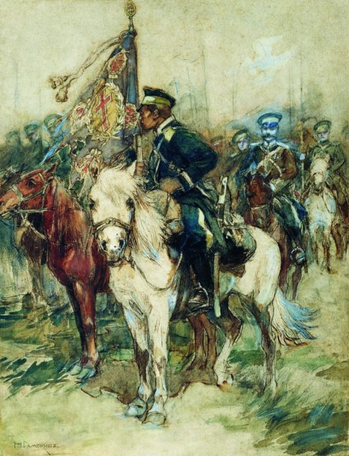 The Rider with a Banner | Nikolai Samokish | Oil Painting