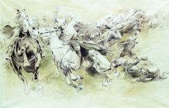 Cavalry Battle | Nikolai Samokish | Oil Painting