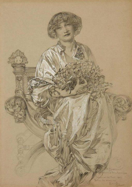 Portrait of Madame Deschamps | Alfons Mucha | Oil Painting